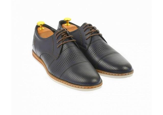 Pantofi barbati eleganti din piele naturala cu perforatii, bleumarin - SIR213GBL