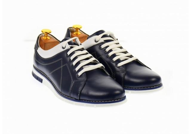 Pantofi  barbati sport albastrii din piele - YANISNOUBLU
