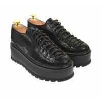 Oferta marimea 36 Pantofi dama,  cu talpa groasa, casual , 4 cm, negri - LTCC4N