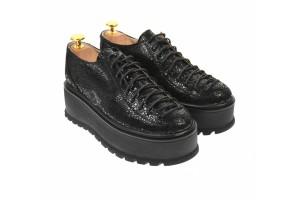 Pantofi dama, cu  talpa groasa casual , 4 cm, negri - TCC4N