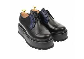 Pantofi dama cu  talpa groasa casual, 4 cm, negru cu albastru - TCC4NA