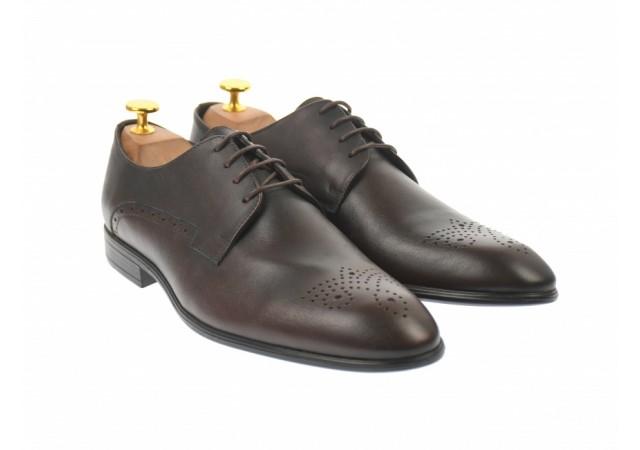 Pantofi barbati eleganti, cu siret, din piele naturala, maro inchis  - LUC01M