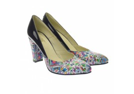 Pantofi dama, eleganti din piele naturala , negru cu imprimeu, toc 7cm - NAA8NCOLOR