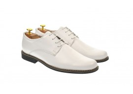 Oferta marimea 40,  41 - Pantofi barbati, eleganti, albi, din piele naturala - LPAABOX