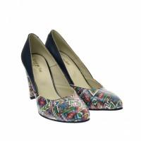 Oferta marimea 38 - Pantofi dama, eleganti, din piele naturala, bleumarin cu imprimeu, toc 7 cm - LNAA8BOXCOLOR
