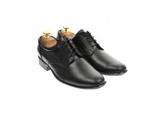 Oferta marimea 42 - Pantofi barbati, eleganti, din piele naturala neagra - L2SN