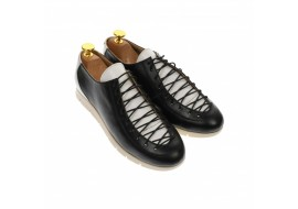 Pantofi dama casual din piele naturala, alb negru - P501NA