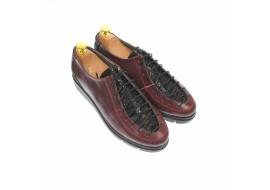 Pantofi dama casual din piele naturala, visiniu - P501VN