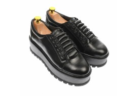 Pantofi dama cu  talpa groasa casual, 4 cm, negru - P502N