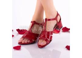 Sandale dama rosii din piele naturala cu suvite lac - NAA55RPL