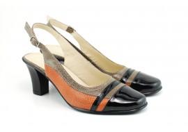 Pantofi dama decupati, eleganti, din piele naturala, cu toc mic - ROVI32ELY