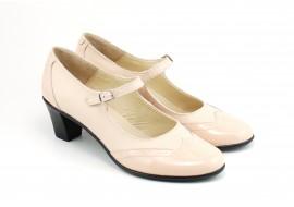 Pantofi dama comozi si eleganti, din piele naturala, cu toc de 5 cm, P104BEJ
