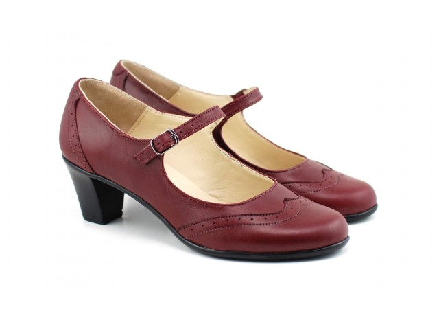 Oferta marimea 39 - Pantofi dama, visinii, eleganti, din piele naturala - LP104VIS