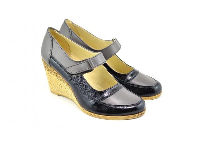 Pantofi dama piele naturala cu platforme de 7 cm P9154NG