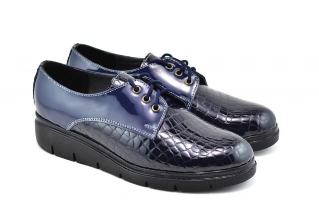 Oferta marimea 37 Pantofi dama casual din piele naturala bleumarin - LMIOALBASTRULC
