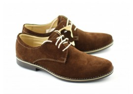 Pantofi maro barbati casual - eleganti din piele naturala intoarsa - Made in Romania