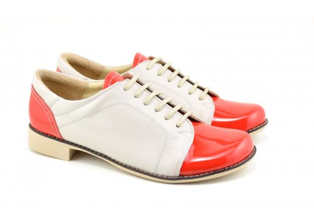 Pantofi dama casual din piele naturala Rosu cu Bej - Cod: P53BR