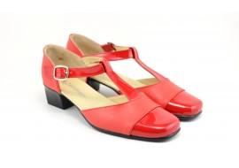 Lichidare marimea 37 Pantofi dama rosii din piele naturala cu varf lacuit - eleganti LS1ROSU