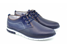 Pantofi barbati sport din piele naturala bleumarin Yanis Blue TENYANISALBASTRU