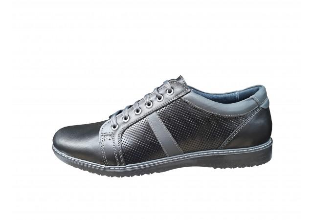 Pantofi barbati sport - casual din piele naturala bleumarin - Yanis 2 Negru