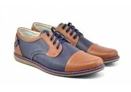 Pantofi barbati sport, casual din piele naturala 338ALBASTRUMBOX