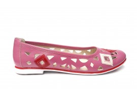 Balerini dama casual de vara din piele naturala roz - SV403ROZ