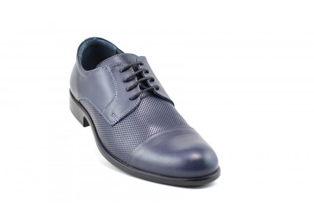 Pantofi barbati office, eleganti din piele naturala bleumarin - Mario Lavalle