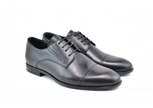 Pantofi barbati eleganti din piele naturala SIR Negru