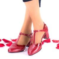 Pantofi dama rosi eleganti din piele naturala si piele lacuita toc 5cm - NAA50