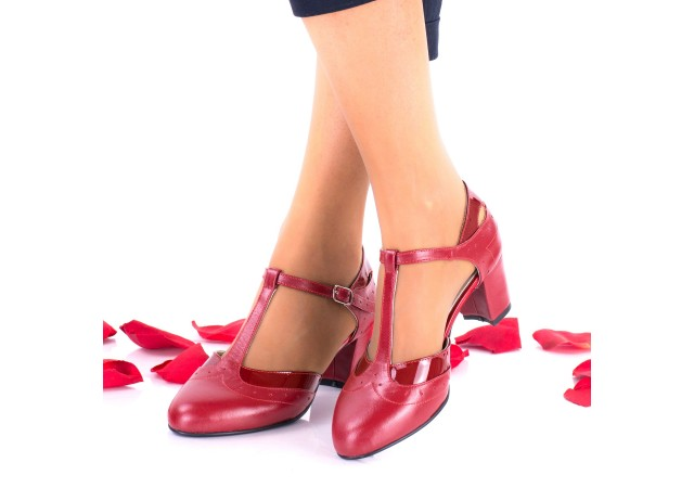 Pantofi dama rosii eleganti din piele naturala toc 5cm - NAA50RLP