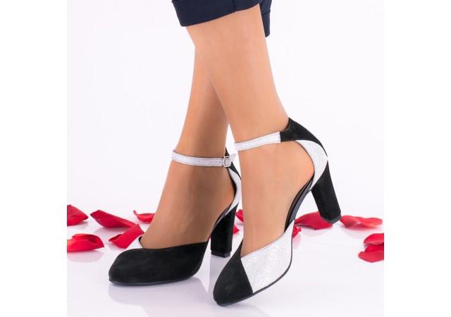 Oferta marimea 37 Pantofi dama negri din piele intoarsa toc 8cm - LNAA51