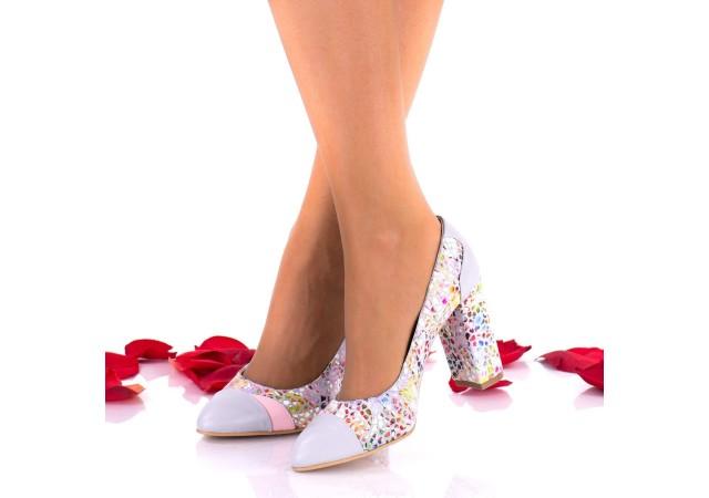 Oferta marimea 38 - Pantofi dama eleganti din piele naturala toc 8cm - LNAA47COLPGRI