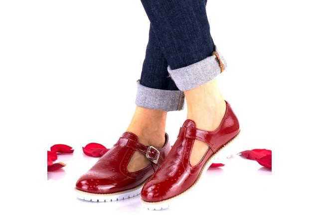 Pantofi dama casual din piele naturala lacuita NA297