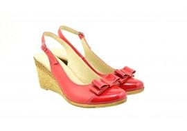 Lichidare marimea 40 Sandale dama rosii  din piele naturala, cu platforma - ROXY LSTEAROSU