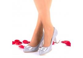 Marimea 40, Pantofi dama din piele naturala gri toc 7cm - LNAA41GRIAG
