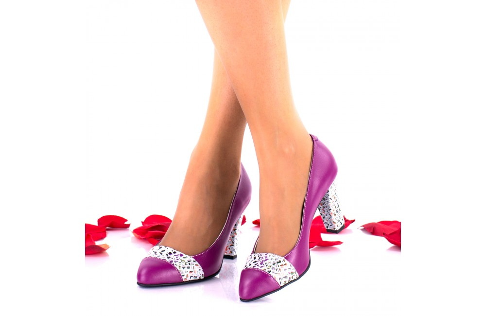 Ordin Adidași 2018 pret nebun Oferta marimea 36 Pantofi dama din piele naturala mov toc 7cm - LNAA19