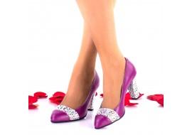 Pantofi dama din piele naturala mov toc 7cm - NA48COLMOV