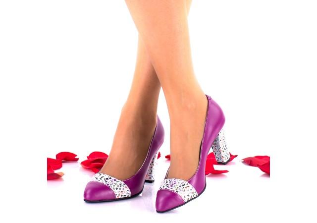 Oferta marimea 36, 37 -  Pantofi dama din piele naturala mov toc 7cm - LNA48COLMOV