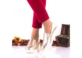 Lichidare marimea 39 Pantofi dama casual din piele naturala auriu LNA271AURIU