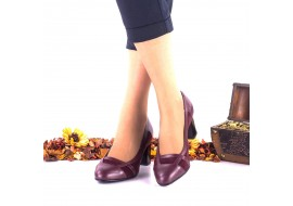 Oferta marimea 38 Pantofi dama din piele naturala si piele intoarsa bordo toc 6cm - LNAA36