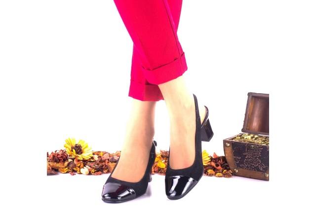 Pantofi dama din piele intoarsa si piele lacuita toc 5cm - NA23LN