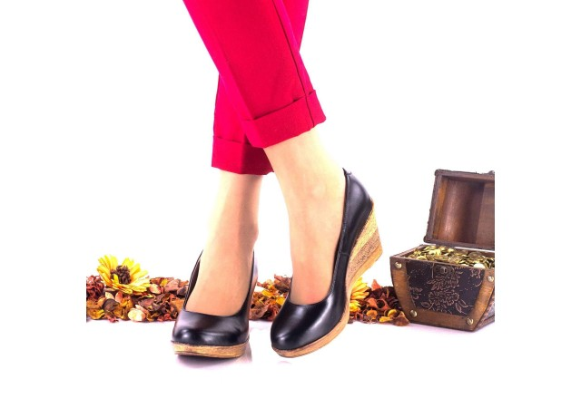Pantofi dama casual din piele naturala cu platforme de 6cm NA170