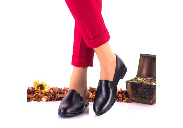 Pantofi dama casual negri din piele naturala NA250