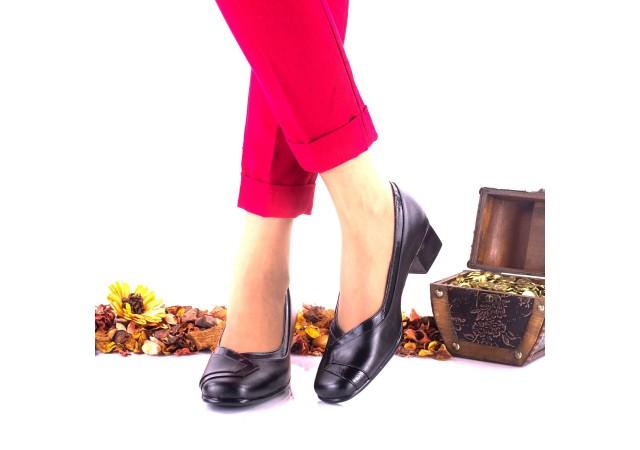 Pantofi dama, negri, din piele naturala si piele lacuita NA52NPL