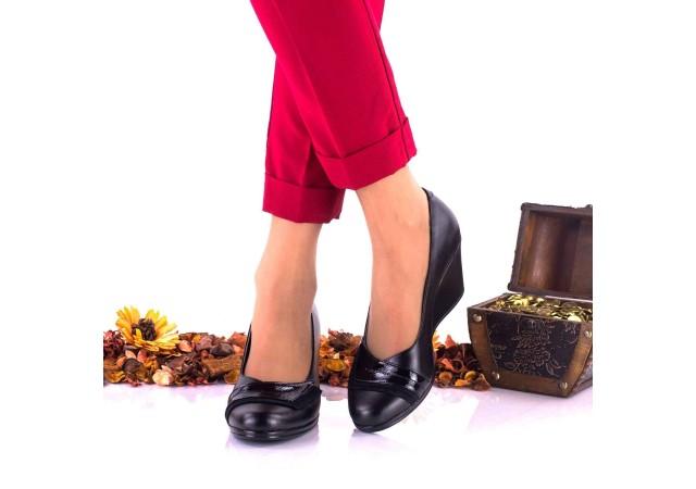 Pantofi dama casual din piele naturala cu platforme de 6cm NA115NPSL