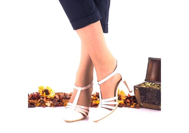 Pantofi dama din piele naturala nud toc 7cm - NAA11