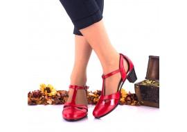 Oferta marimea 35, 38 Pantofi dama casual rosii din piele naturala toc 4cm - LNA103