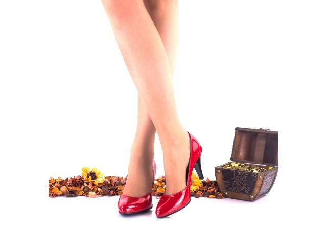 Oferta marimea 40, pantofi dama rosu lac, din piele naturala, toc 9cm - LNAA5RL