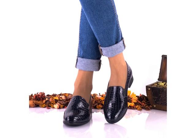 Pantofi dama casual bleumarin din piele naturala croco - NAA250