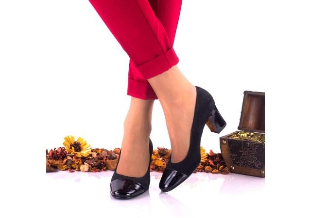 Lichidare marimea 37 - Pantofi dama din piele intoarsa si piele lacuita toc 7cm - LNAA3NSL